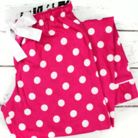 Trendy Hot Pink Flannel Polka Dot Pajama Pants