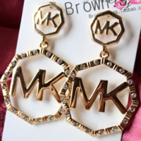 MK MICHAEL KORS classic logo letter big earrings gold letters diamond earrings exaggerated ear studs F0299-1