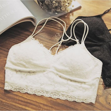 Floral Lace Back Caged Wireless Bandeau Brallete