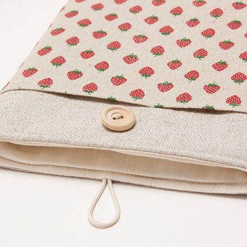 iPad mini case. iPad mini with retina display or iPad AIR sleeve with strawberries pocket,case, bag, pouch. iPad 1 2 3 4 cover. Tablet case.