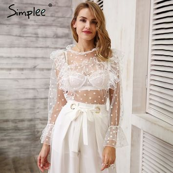 Simplee Sexy dot lace blouse shirt women Transparent white blouse ruffle mesh summer tops Flare long sleeve blouse chemise femme