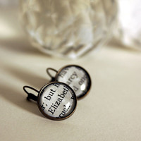 Literary lovers earrings Elizabeth and Darcy by bookity on Etsy