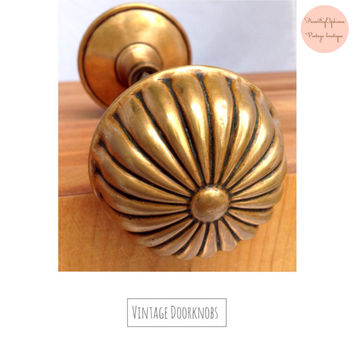 "Vintage Brass Doorknob Set Rosette Pedal ""Sea Urchin"" Brass Door Knobs/ Large Brass Door Knobs/ Door Decor/ Vintage Brass Door Knobs"