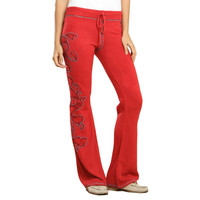 Fifi Womens Knit Embroidered Lounge Pants
