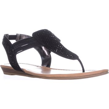 MG35 Siera Rhinestone T-Strap Flat Sandals, Black, 8 US