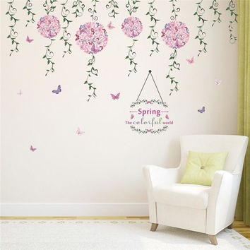 Flying Flower Butterfly Floral Vine Wall Stickers Living Room Bedroom TV Sofa Background Sofa Window Decor Wall Decal Art