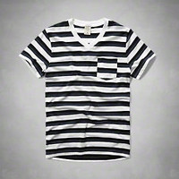 Striped V Neck Pocket Tee