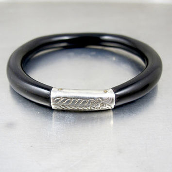 Sterling Black Coral Bracelet. Antique Chinese Silver Coral Bangle. Unisex Bracelet Men Women. Stacking Layering Bracelet.