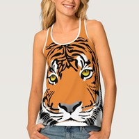 Tiger Head and Eyes Animal Print Tank Top