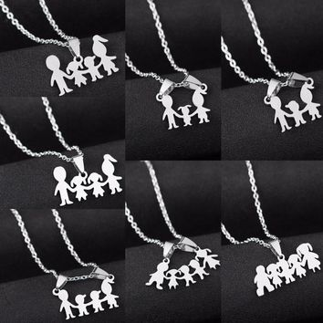 Family Love Mom Dad Son Daughter Necklaces Gifts Stainless Steel Pendants Boys Girls Mothers Fathers Necklace For Children Kids