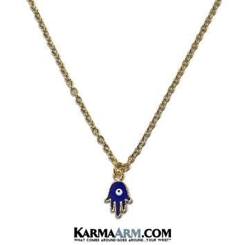 Necklace | HAPPINESS | Hamsa Hand | Evil Eye | Blue Enamel | Delicate Chain Necklace