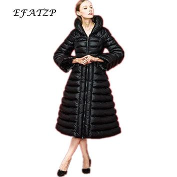 Winter RoyalCat Brand Long Down Coats 2015 New Designer Fashion Womens Vintage Waspish Slim Parka XL XXL size Down Jacket