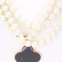 Black Floral Accent High Polish Lining Faux Pearl Necklace
