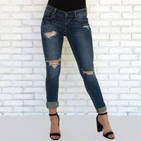 Darla Distressed Skinny Pants in Dark Denim