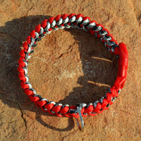 """Macrame Style Paracord collar, red and black collar for medium dogs 13.5"""""""