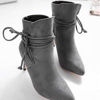 New Women Grey Point Toe Stiletto Cross Strap Fashion Ankle Boots