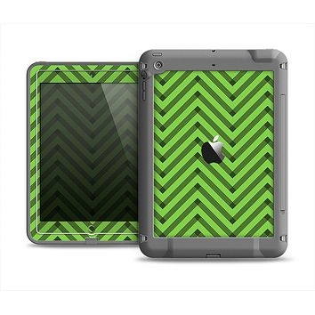 The Lime Green Black Sketch Chevron Apple iPad Mini LifeProof Fre Case Skin Set
