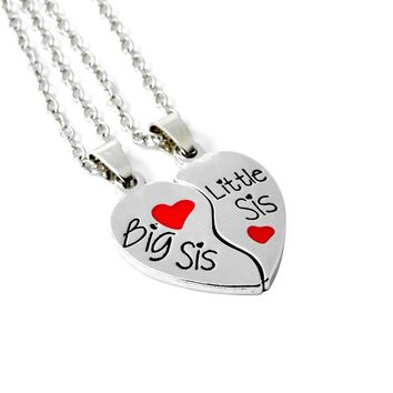 2pcs/set For Sisters BIG SIS LIL SIS Forever best friend Split Heart Family Love Pendant Necklace Gift Bff Necklace