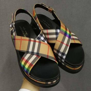 Burberry Women Fashion Sandals Platform Flats Shoes