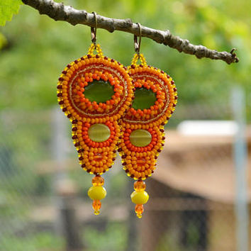 Orange earrings Holiday earrings Fox earrings African inspired earrings Exotic earrings Bead embroidered bright earrings Bohemian earrings