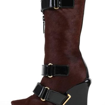 LOUIS VUITTON Brown Calf Hair Patent Wedge Platform Runway Boots F/W 06 Rare