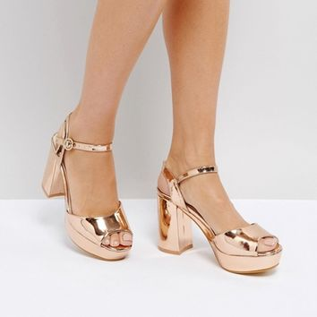 Truffle Collection Metallic Platform Heeled Sandal at asos.com