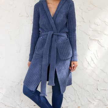 Soft Knit Hooded Robe - Blueberry by POL Clothing