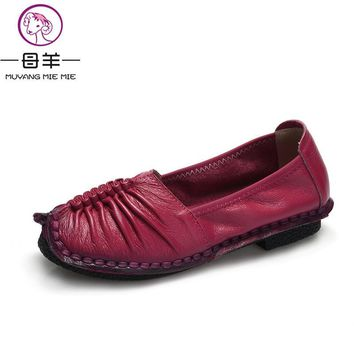 2016 Fashion Loafers Women Shoes Genuine Leather Shoes Handmade Soft Comfortable Flat