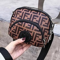 FENDI Trending Women Stylish FF Letter Canvas Purse Waist Bag Shoulder Bag Crossbody Satchel Brown