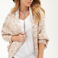 FOREVER 21 PLUS Marled Knit Open Cardigan Cocoa/Cream One