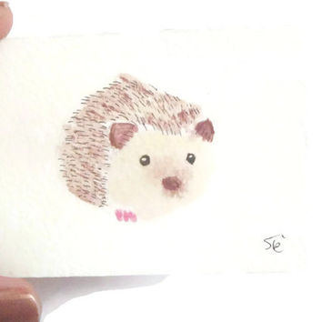 hedgehog kawaii kids art watercolor aceo collection atc collector painting handmade country style watercolour made in italy lasoffittadiste