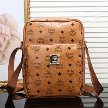 """MCM"" Popular Women Men Briefcase Logo Letter Print Zipper Single Shoulder Messenger Bag Brown I"