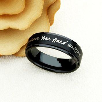 8mm Black Tungsten Wedding Band Promise Ring Inspiration Ring Personalized Hand Writing Ring Custom Engraving Your Own Message