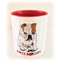 Grumpy Bulldog Coffee Mug, I Hate Mondays. Animal kitchenware, coffee mug, glassware, English bulldog