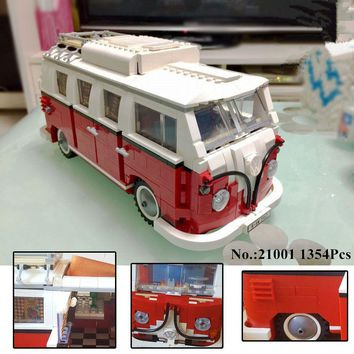 H&HXY In-Stock 1354Pcs 2017 New 21001 Volkswagen T1 Camper Van Model Building Kits Bricks Toys LEPIN Compatible with 10220
