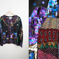 Streets of Prauge - Vintage 90s Sequin Beaded Trophy Party Jacket top Shirt