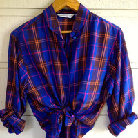 My Urban Outfitters looking boyfriend shirt is actually vintage - Vintage blouse top - Plaid - Size 3