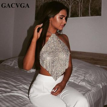 GACVGA 2019 Sexy Crystal Diamond Crop Top Exotic Tank Top Backless Summer Beach Halter Camis Bralette Women Party Crop Tops