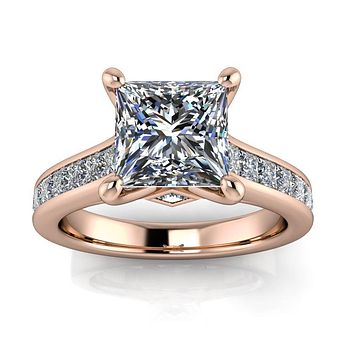 Princess Cut Channel Set Engagement Ring - Ruth