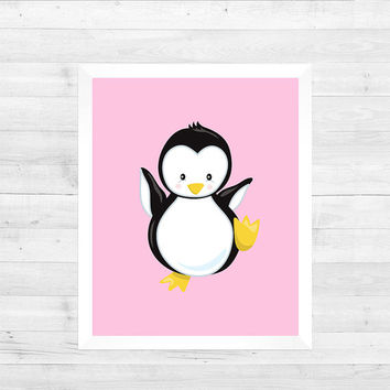 Penguin Arctic Animal on Pink Solid Background Print Decor Baby Print CUSTOMIZE YOUR COLORS 8x10 Prints Nursery Decor Baby Room Decor Kids