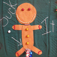 Ugly Christmas Sweater Men XL Gingerbread man Funny Suck It  Naughty Party Winner with little bells