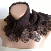 Elegance Brown Shawl / Scarp with Lacy Edge by womann on Etsy