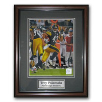 Treehugger 11X14 Unsigned Framed Photo - Pittsburgh Steelers Troy Polamalu