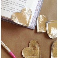 Gold Leather Heart Bookmark – Charming Handmade Book Page Corner Bookmark