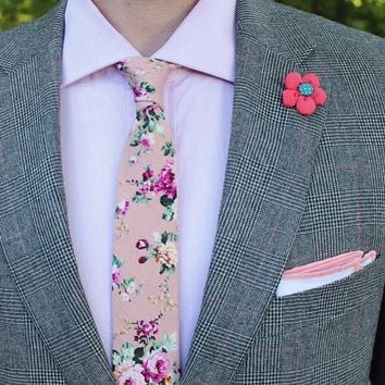 Skinny Floral Tie Boyfriend Gift Men's Gift Anniversary Gift for Men Husband Gift Wedding Gift For Him Groomsmen Gift for Friend Gift Ideas