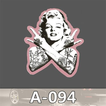 Waterproof single rock retro Monroe American Wind guitar dead fly notebook travel luggage sticker A-094