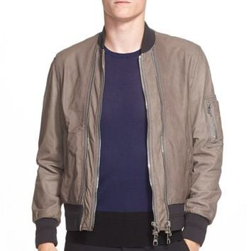 Men's Neil Barrett Double Zip Nappa Leather Bomber Jacket,