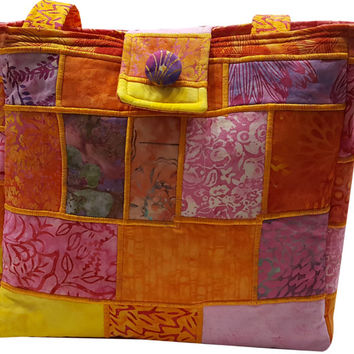 Large Batik Purse in Pink, Orange and Yellow Patchwork