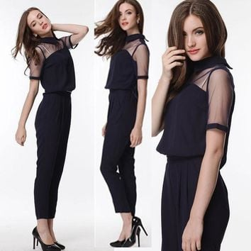 Woman Jumpsuit Sexy Rompers Overalls Chiffon Sleeveless Plus Size Pants