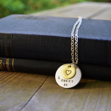 I Carry It Necklace - Brass - Heart - Quote - Romantic - Valentine's Day - Poetry - e.e. cummings - Rustic - Modern - Circle - Geometric